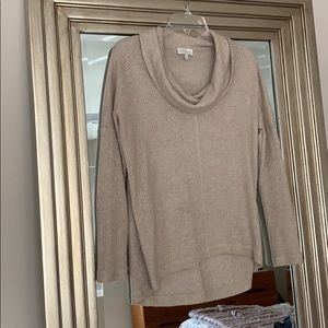 Lucky Brand Cowl Neck Oatmeal Waffle Knit Top
